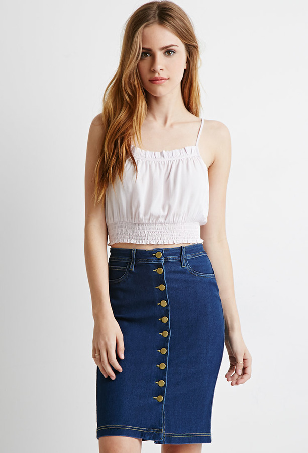 ... forever 21 buttoned denim pencil skirt ... mywvhiy