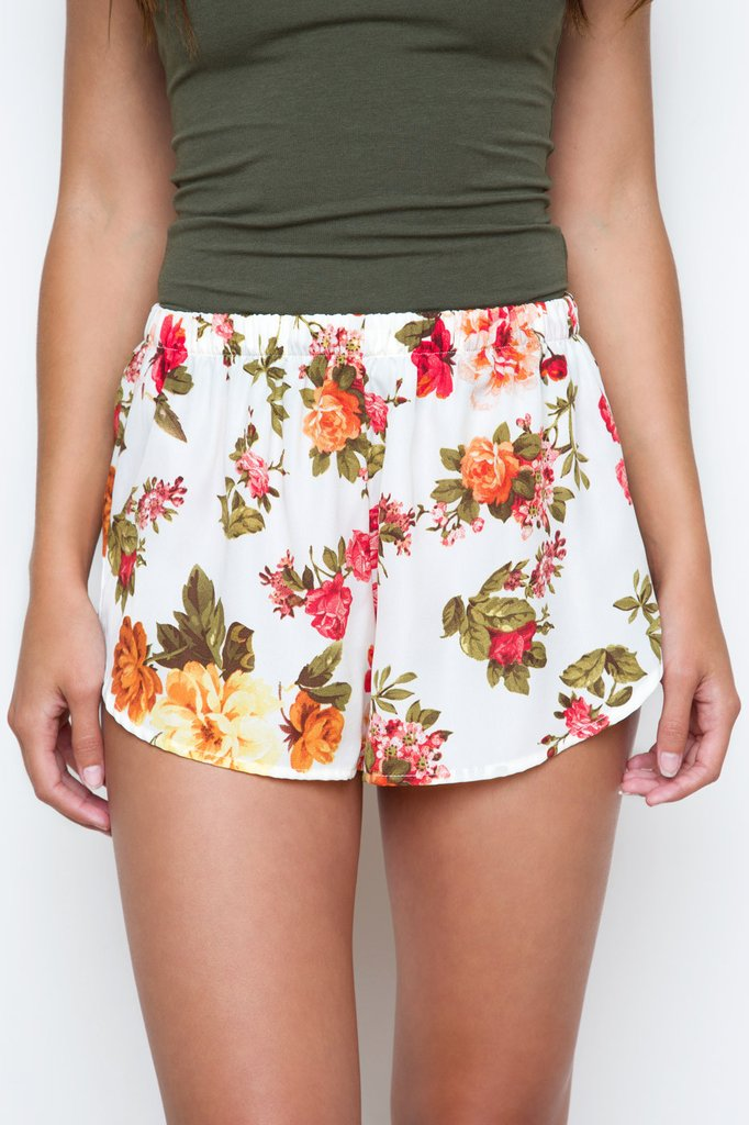 ... oh darling floral shorts - white ... qpuohxm