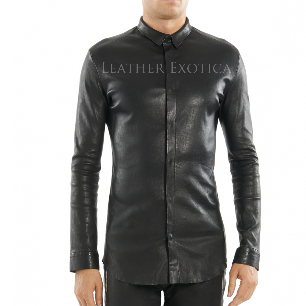 ... tight ed men leather shirt ... nyhwffj