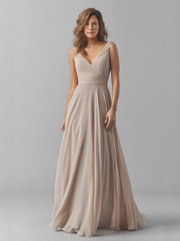 a-line/princess v-neck floor-length pleats chiffon bridesmaid dresses dydmldk