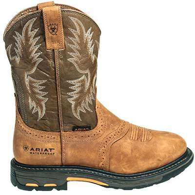 ariat cowboy boots ariat boots: menu0027s 10008633 waterproof brown pull-on workhog cowboy boots hixgxja