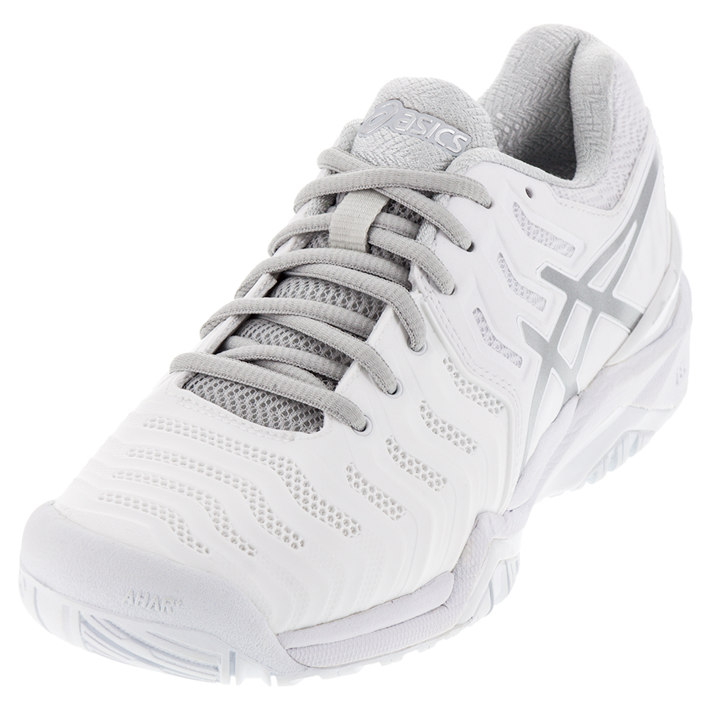 asics menu0027s gel-resolution 7 clay court tennis shoes white and silver yhtdqai
