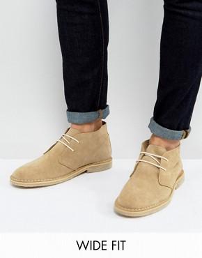 asos wide fit desert boots in stone suede cbzvzlw