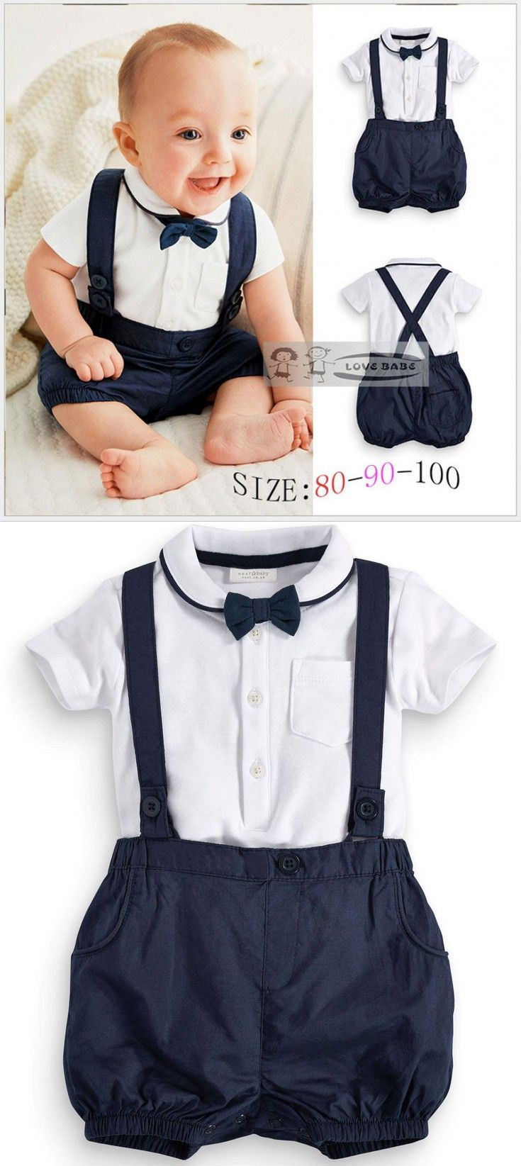 baby suit summer baby clothing cotton 2pcs suit short infant boy gentleman suspender  gift fjuopky