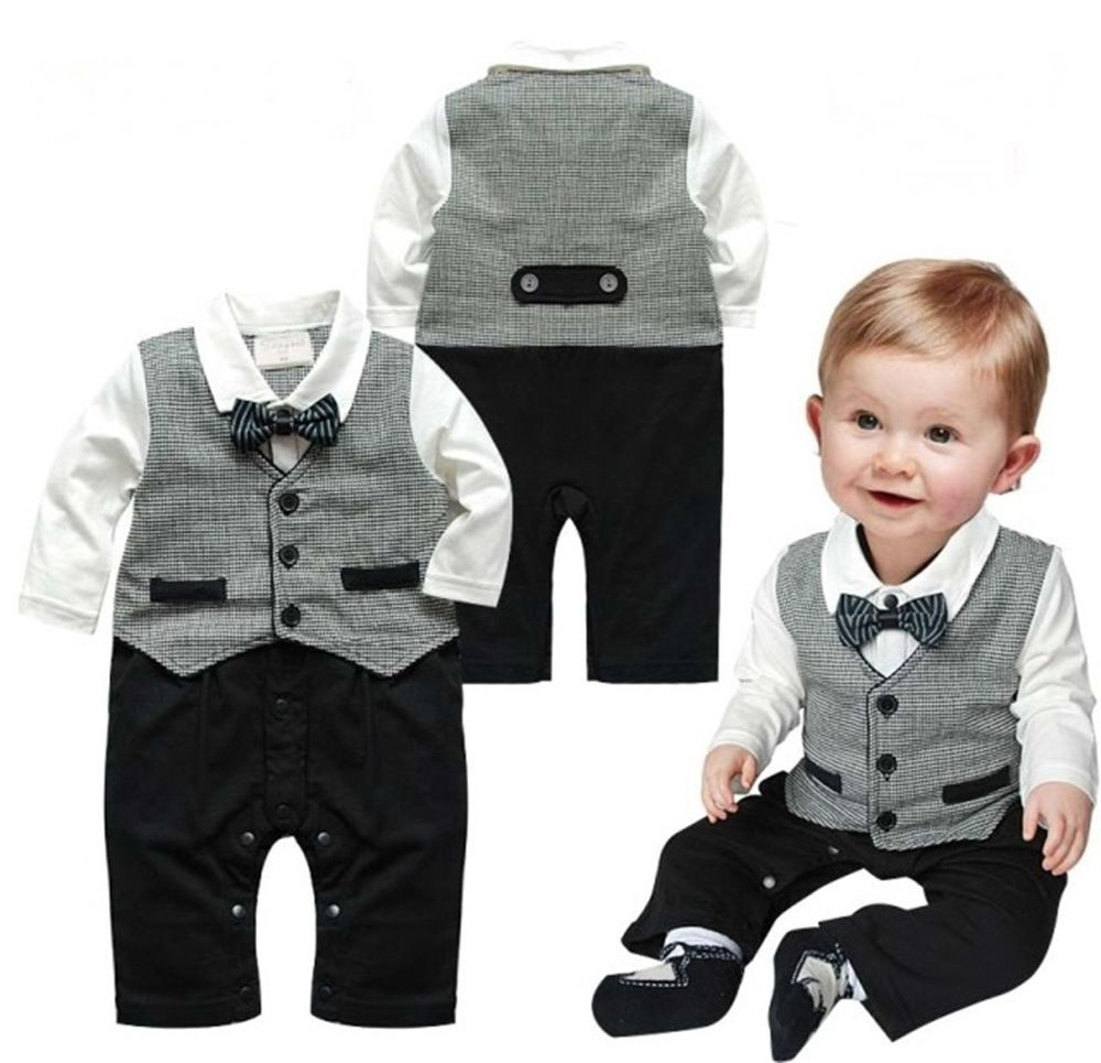 baby suits baby boy wedding check tuxedo suit bowtie romper one piece outfit 0-18m mpttmmr
