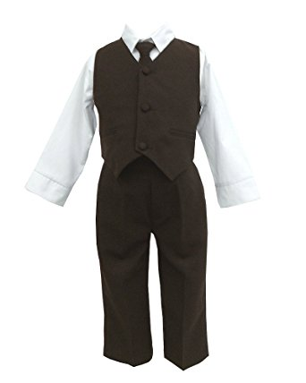 baby suits brown u0026 white baby boys special occasion suit, shirt, tie, vest, pants wipsyta