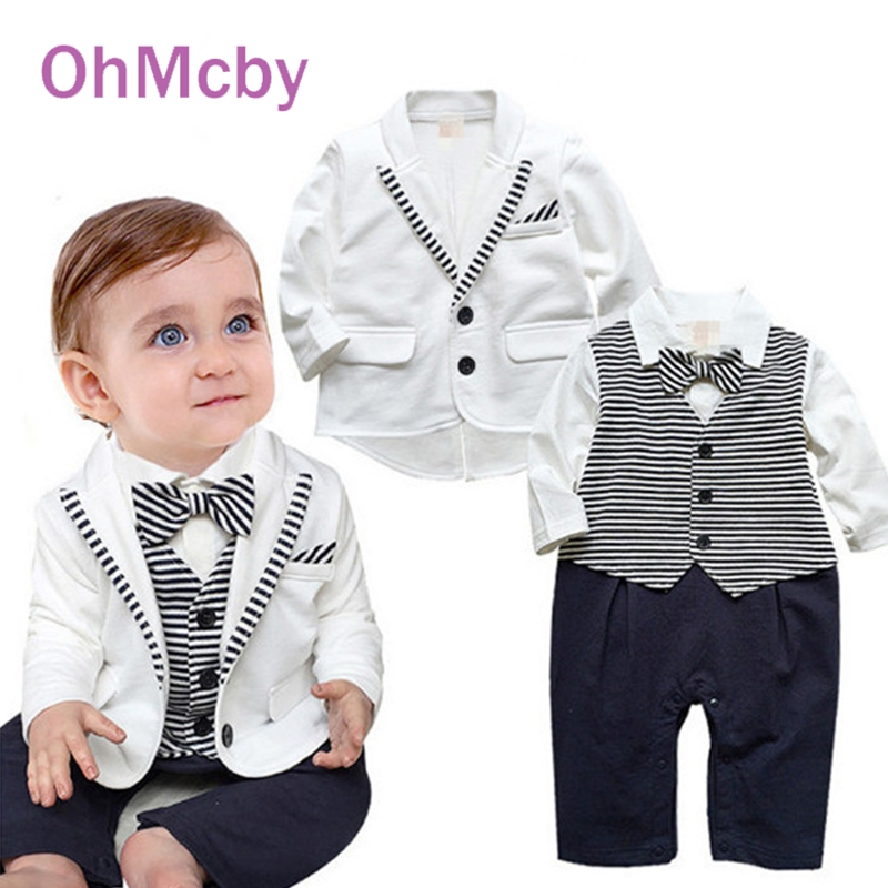 baby suits cute formal suit gentleman baby boy clothes white coat striped rompers clothing pzyugje