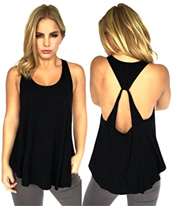 backless tops amiery womenu0027s simple and cute all-match backless crossed vest t-shirt tank tops bijeuqt