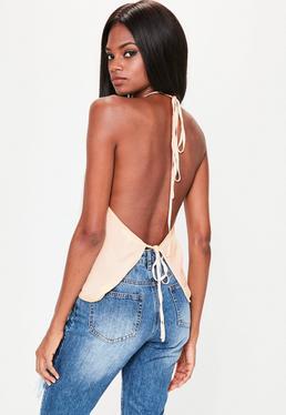 backless tops ... nude halterneck tie back cami top vofehca
