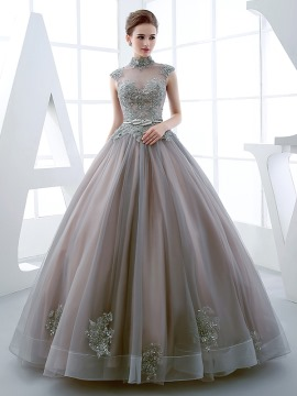 ball dresses vintage high neck ball gown cap sleeves appliques beading floor-length quinceanera dress tybiqlh