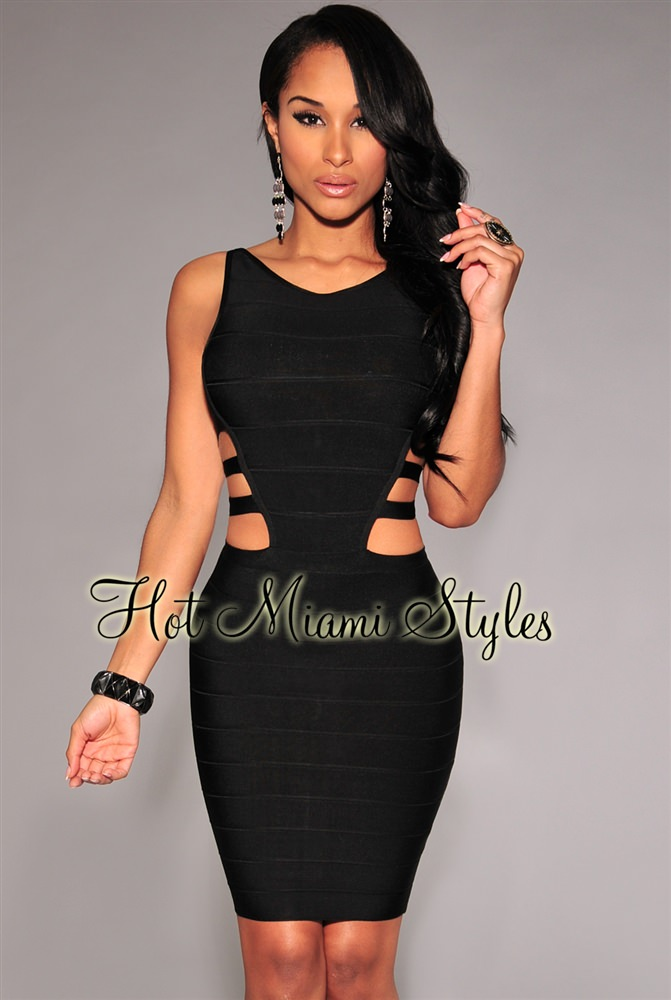 bandage dresses black cut-out sides bandage dress viyzinr