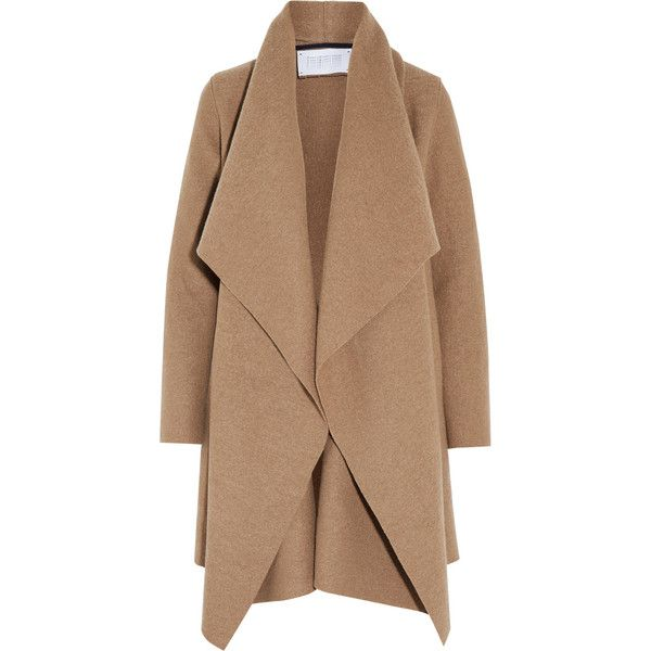 beige coat harris wharf london shawl-collar wool coat ($455) ❤ liked on polyvore  featuring onlvakf
