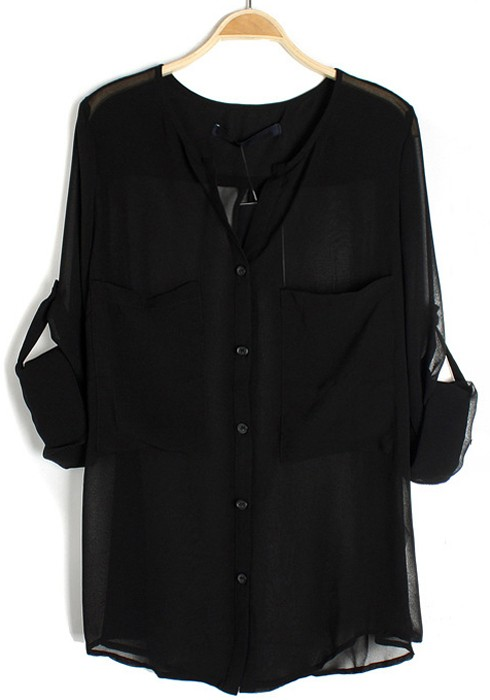 black chiffon blouse black sashes lapel long sleeve pockets chiffon blouse fynbjlm