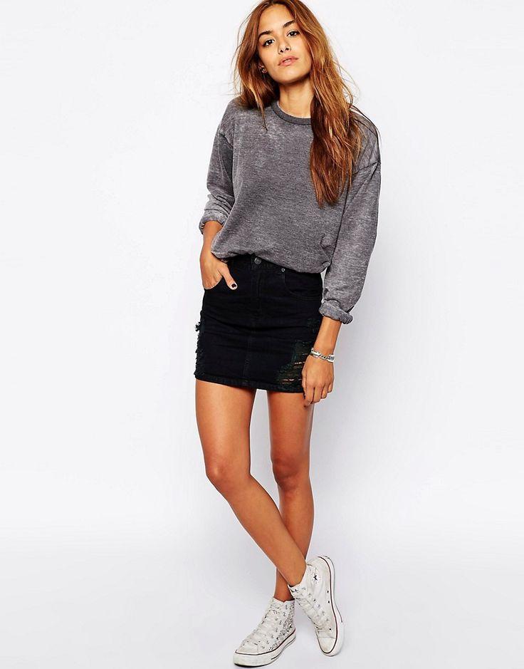 black denim skirt ripped-mini-black-denim-skirt kevaxgy