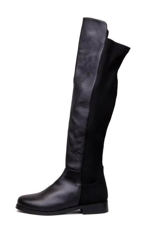 black knee high boots leather lycra flat knee high boots black -shein(sheinside) jwwgmca