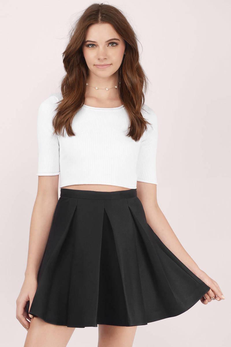black skirt myah pleated black skater skirt jiaxjyg