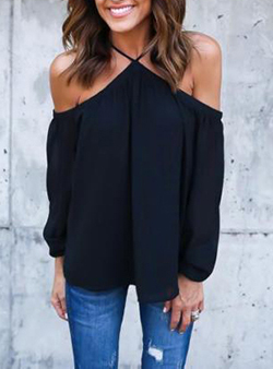 black tops off the shoulder halter top - long sleeves kvcnmft