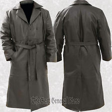 black trench coat mens black solid leather long trench coat duster double breasted belted dqspgdq