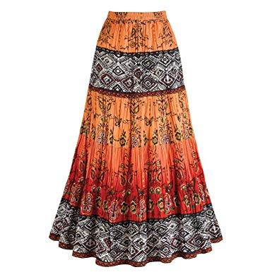 broomstick skirt womenu0027s crinkle broom skirt - chesca coral orange u0026 red tribal pattern - vrfzsqq