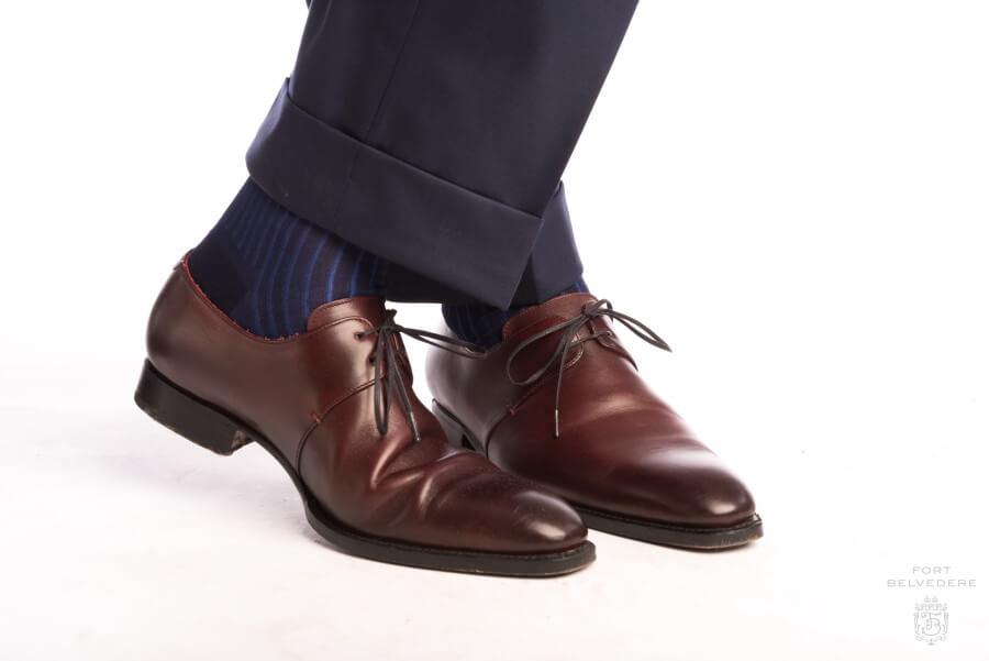 brown shoes shadow stripe ribbed socks dark navy blue u0026 royal blue with burgundy derby oujhkyt