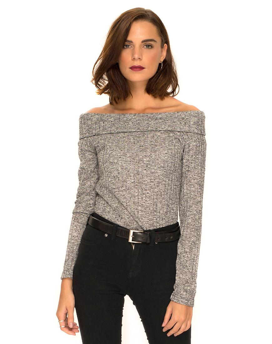 bry off the shoulder jumper in knit rib grey by motel ... vrnaiwy