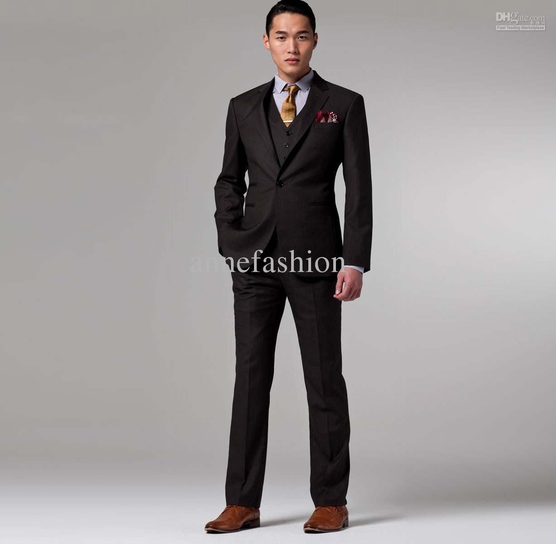 business suits for men wholesale - men fashion business suit custom made suit men dark brown three omkznur