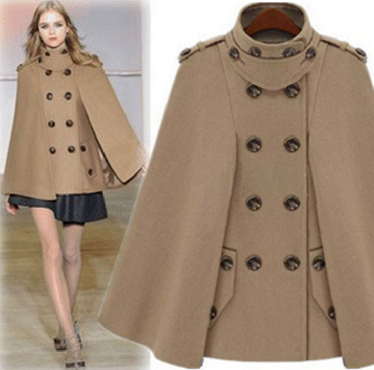 cape coats 2017 fashion women wool coat stand collar autumn winter jacket plus size cfvtvsd