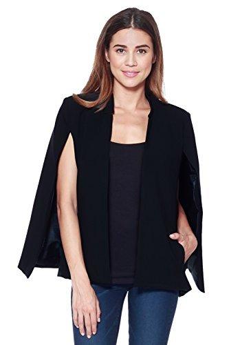 cape jacket a+d womens woven structured cape blazer suit jacket w/ pockets (black,  x-large) bpmsfhh