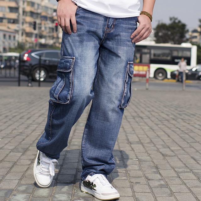 cargo jeans plus size mens denim cargo pants jeans with side cargo pocket hip hop llwskuy