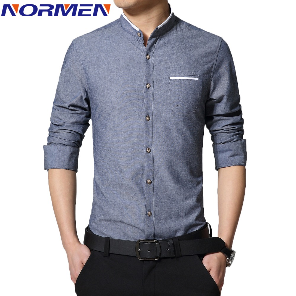 casual shirts for men 2017 new brand menu0027s casual shirt long sleeve banded collar easy care znmajag