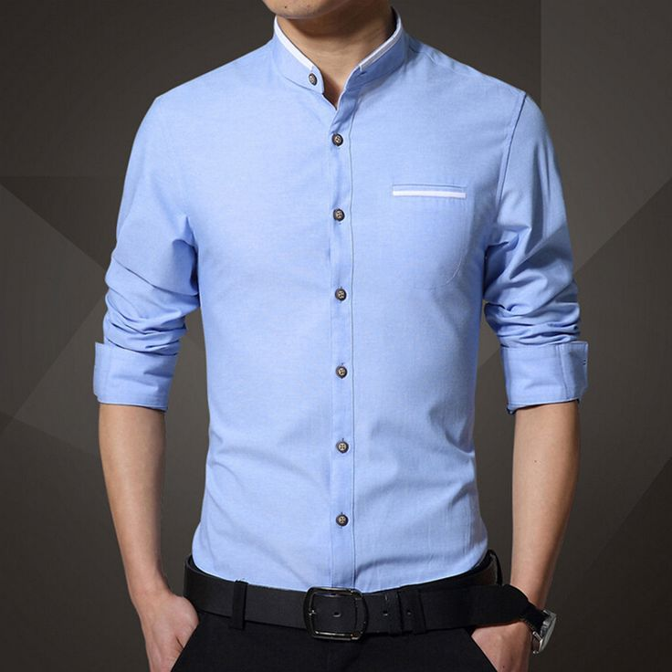 casual shirts for men new brand menu0027s casual shirt long sleeve banded collar easy care collarless rpbfwxf