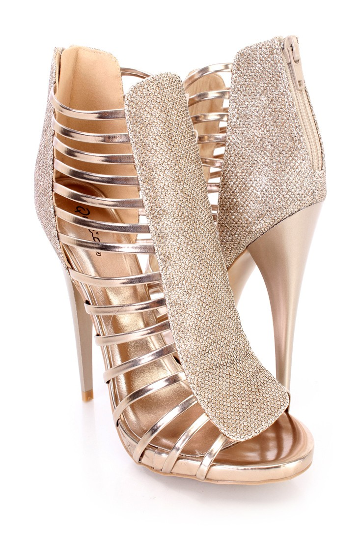 champagne heels champagne glitter strappy open toe back zipper bootie heels faux leather mlnhins