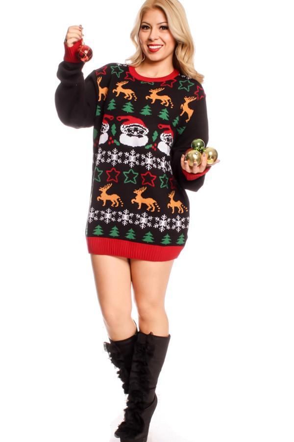 christmas sweater dress black multi print design round neckline long sleeve ugly christmas sweater dress puylouo