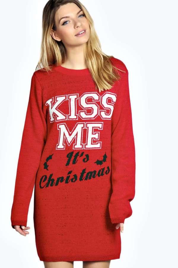 christmas sweater dress ... boohoo georgia kiss me its christmas knit jumper dress ... leucxhn