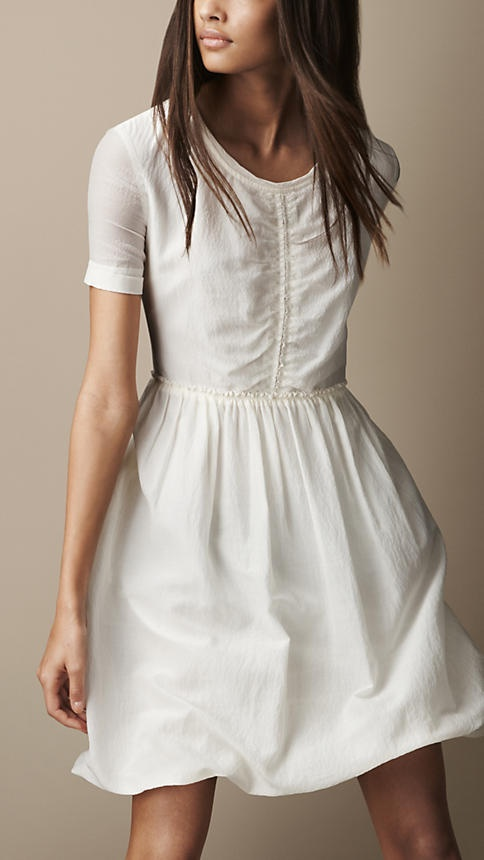 cotton dresses gathered waist silk cotton dress with exposed back zip in chalk white by yvrqupm
