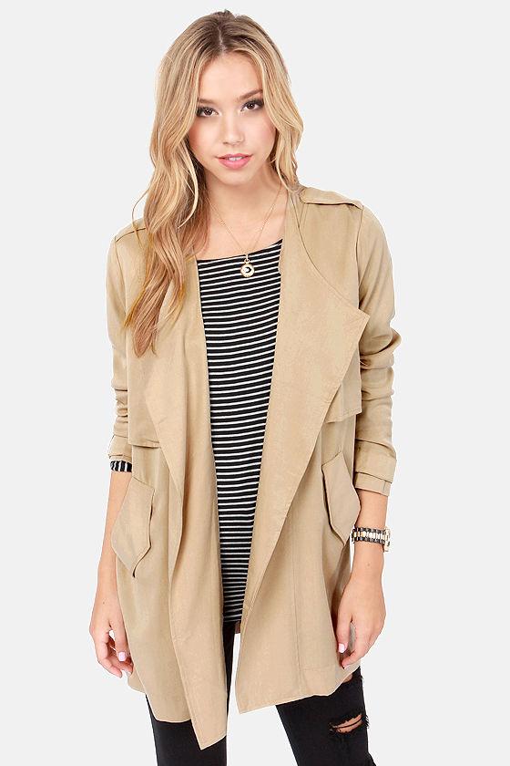 cute beige jacket - trench coat - beige coat - $73.00 kvgdewj