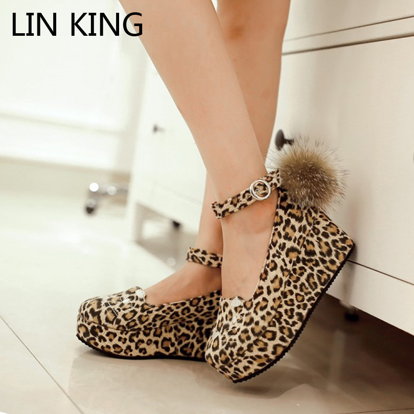cute high heels lin king wedges heel women pumps ankle strap pom pom cosplay party shoes qsdctrg