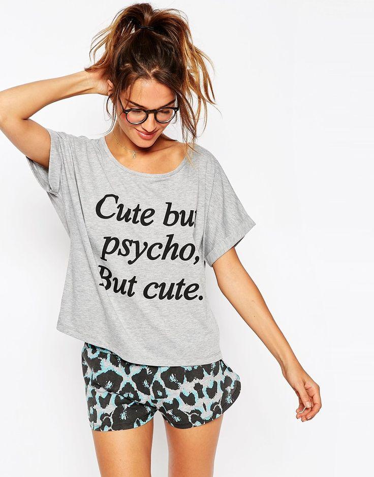 cute pajamas grey blue asos cute but psycho, but cute tee u0026 shorts pyjama set ucsrjwe