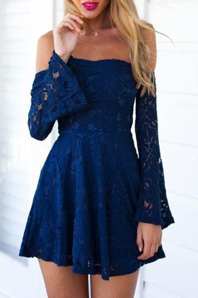 cute party dresses #summer #fashion / navy lace dress qsquyri