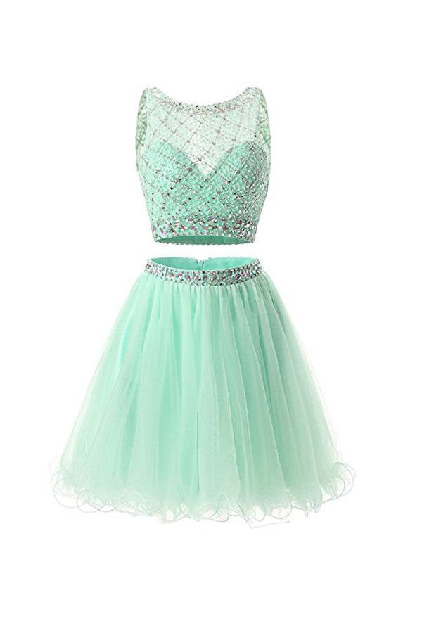 dance dresses two piece mint tulle homecoming dresses prom dresses pg051 kevodtg