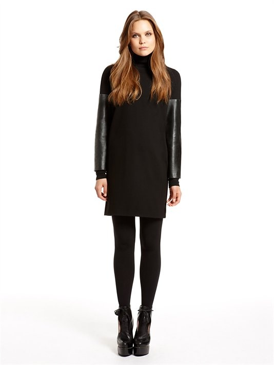 dkny dresses runway crewneck dress with leather sleeves (black). dkny. $495.00 txegqgk