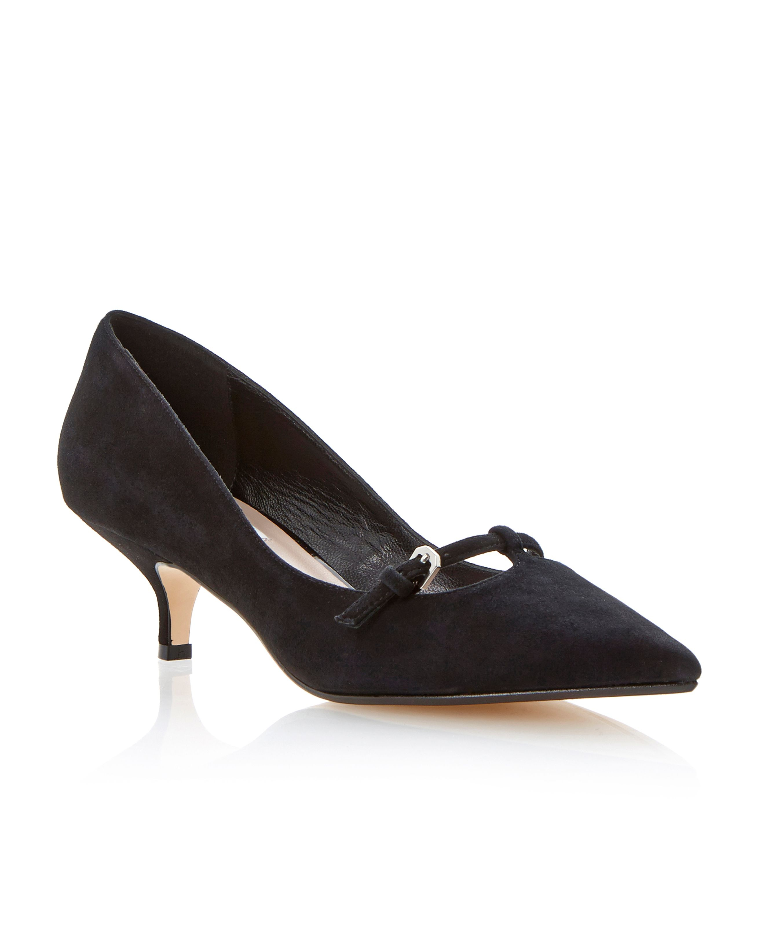 dune alyce suede pointed toe kitten heel shoes in black lyst rtonzqc