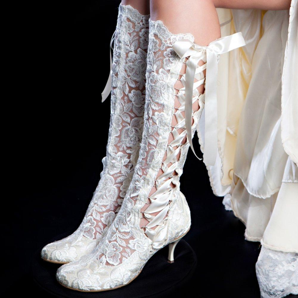 evangeline elliot ivory vintage lace knee high wedding boots, vintage xszrwlb