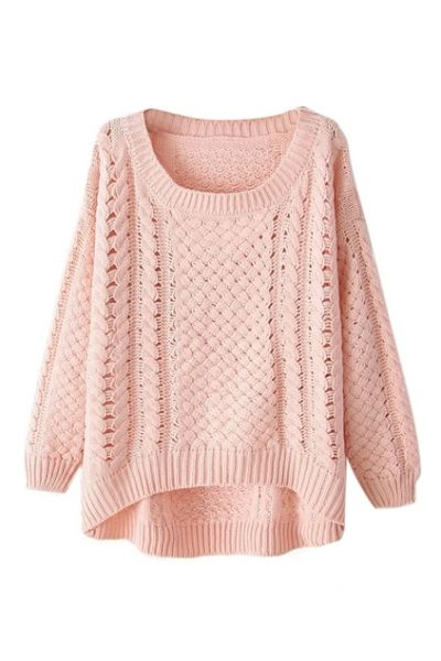 fall sweaters asymmetric hollow-out light pink jumper vnobfsq