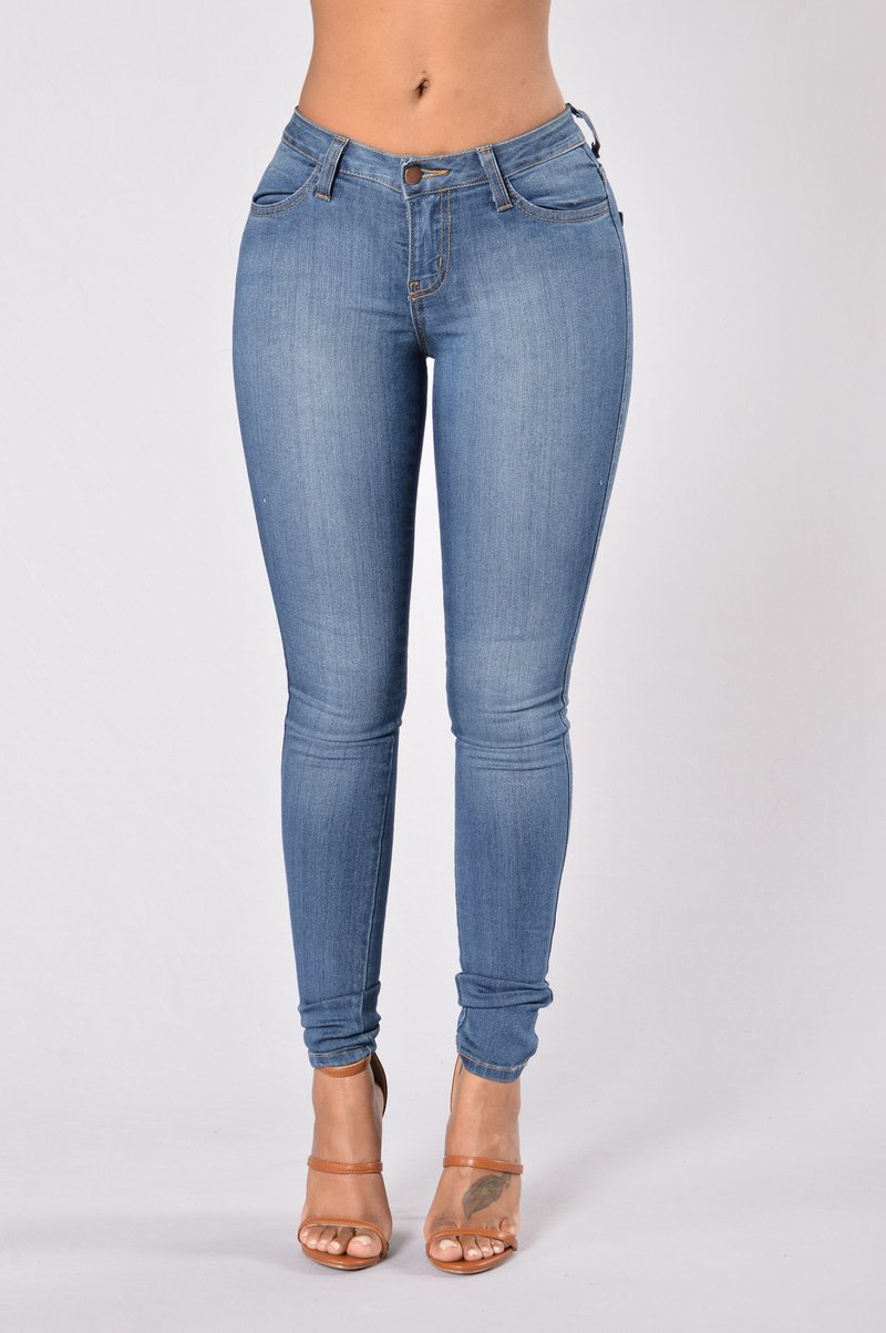 fashion jeans classic mid rise skinny jeans - medium blue whltxhr