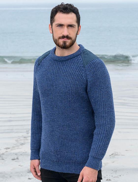 fisherman sweater irish fishermans ribbed sweater with patches znsybnd