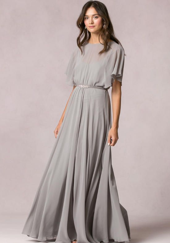 floor length dresses bateau neckline with flutter sleeves on a blouson overlay floor length dress ooeveio
