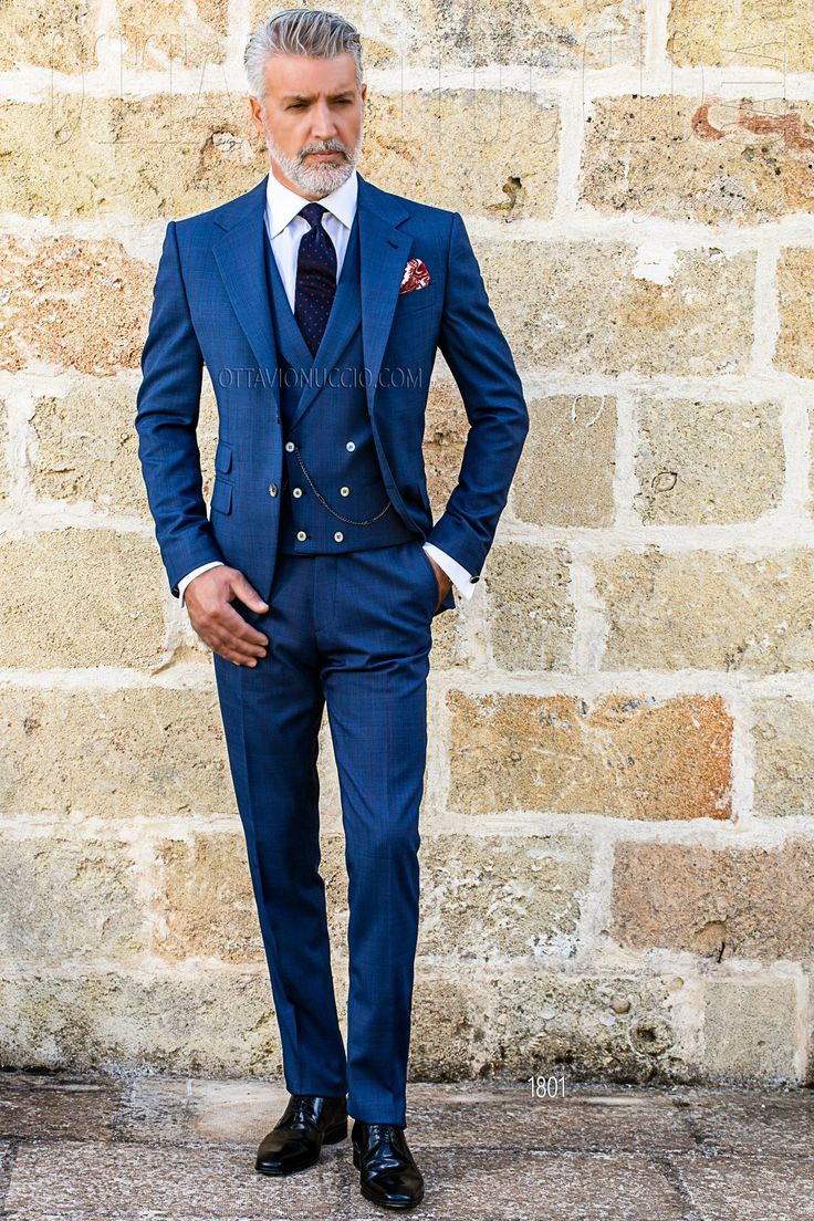 formal suits blue prince of wales notch lapel formal suit...xo carlos ubkpnjw
