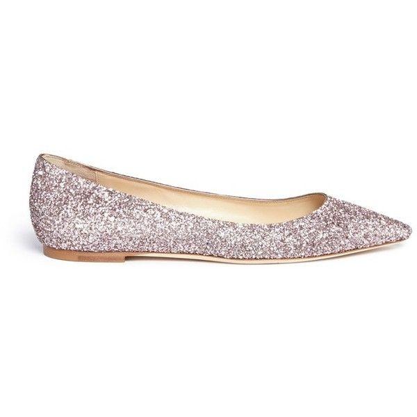 glitter flats jimmy choo u0027romyu0027 coarse glitter skimmer flats found on polyvore featuring  shoes, kuqibrv