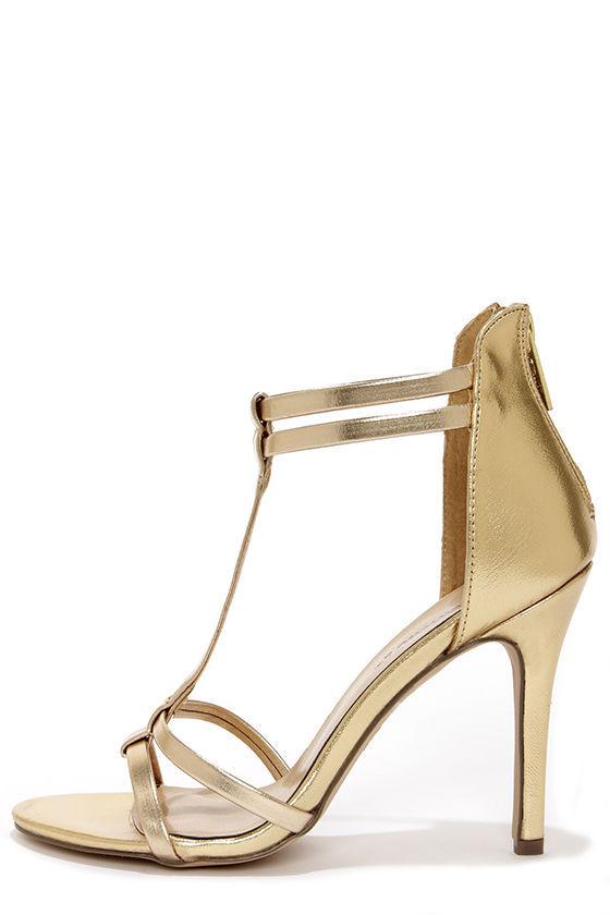 gold high heels sexy gold heels - dress sandals - high heel sandals - $26.00 cahcozs